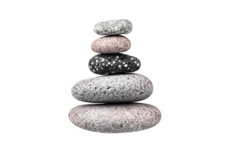 Pebble pile on white background isolated close up, stack of balanced zen stones, pyramid of smooth sea pebbles, tower of round cobblestones, yoga rocks heap, stacked balance cobble stone arrangement