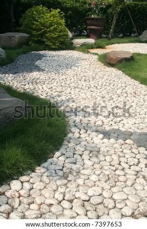 Pebble Stone path in an asian garden