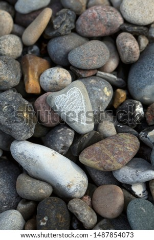 Pebbles And One With Scribbled Heart