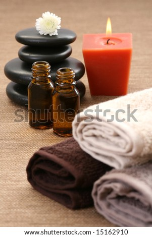pebbles flowers and towels - body care