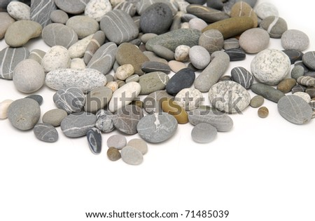 pebbles over white background