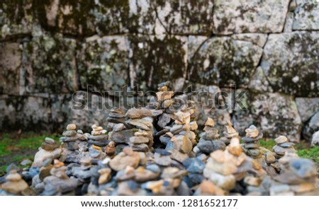 Pebbles piled for prayer