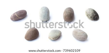 Pebbles stone, heap of stones isolated on white background, sea pebble