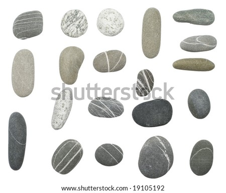 pebbles stones on white background (series)