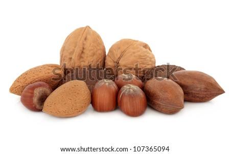 Pecan, almond, walnut, hazelnut and brazil nuts over white background.