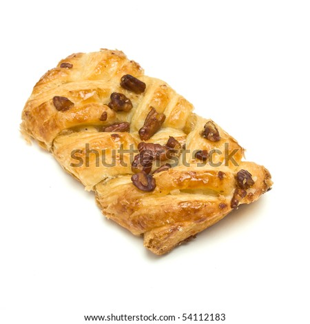 Pecan Danish Plait isolated against white background.