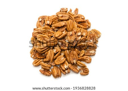 Pecan-nut isolated on white background. Top view.  Zdjęcia stock ©