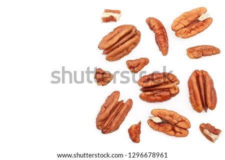 pecan nut isolated on white background with copy space for your text. Top view. Flat lay Zdjęcia stock ©