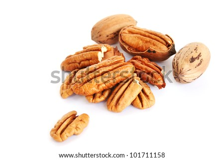 Pecan nuts isolated on white  background.