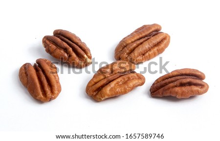 Pecan nuts isolated on white background Foto stock ©
