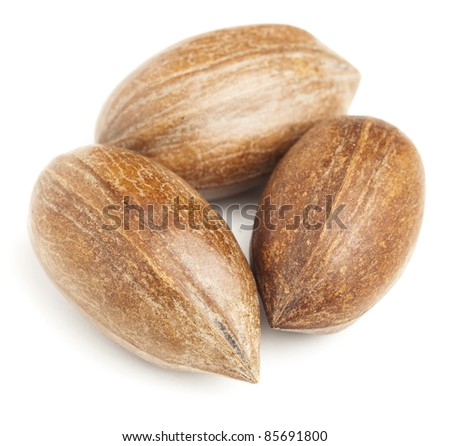 pecan nuts stack isolated on a white background