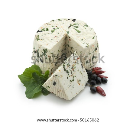 Pecorino - sheep chees with red pepper, Rucola and Black olives, sliced on white background - With path