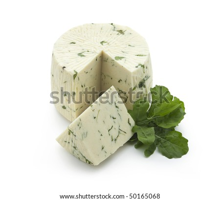 Pecorino - sheep chees with rucola sliced on white background - With path