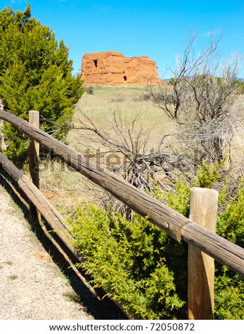 Pecos National Historical Park adobe spanish mission ruins and fence