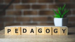 Pedagogy word written on wood block. Pedagogy text on wooden table for your desing, concept.