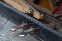 pedal of old piano closeup