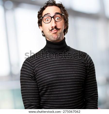 pedantic man amazed face