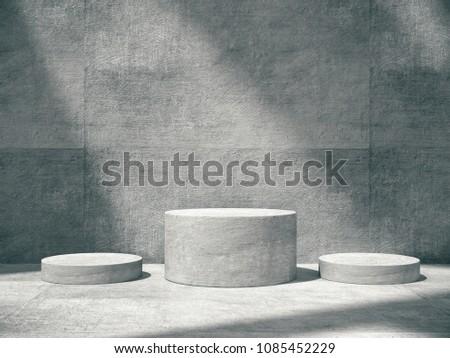 Pedestal for display,Platform for design,Blank product,concrete room .3D rendering.