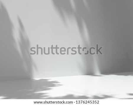 Pedestal for display,Platform for design,Blank product,Empty room with Tree shadow on the wall .3D rendering.
