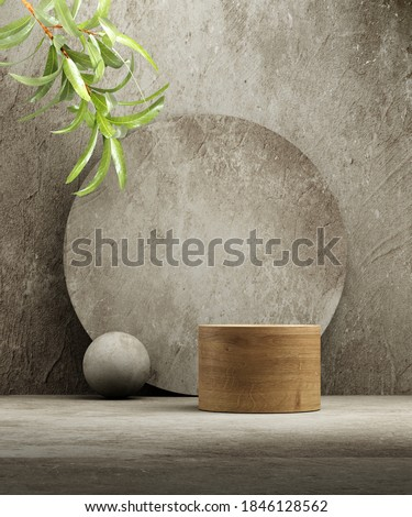 Pedestal for natural cosmetic product presentation. Stone and wood cylinders with plant leaves. 3d illustration