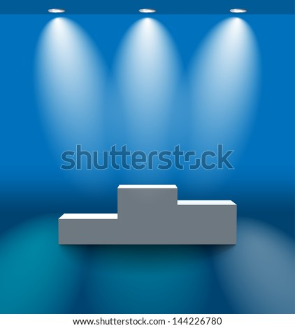 Pedestal in the blue room with lamps