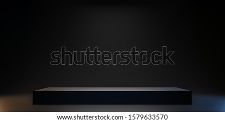 Pedestal of Platform display with black stand podium on dark room background. Blank Exhibition or empty product shelf. 3D rendering. Photo stock ©
