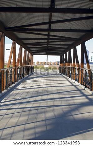 Pedestrian bridge spanning Menomonee River in Menomonee Valley area of Milwaukee Wisconsin