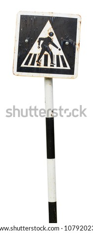 pedestrian cross sign isolated on white