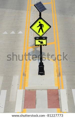 pedestrian crossing light with solar panel