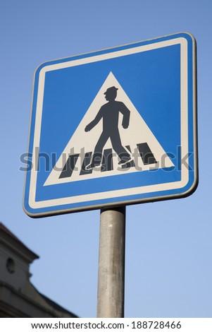 Pedestrian Crossing Sign in Urban Setting