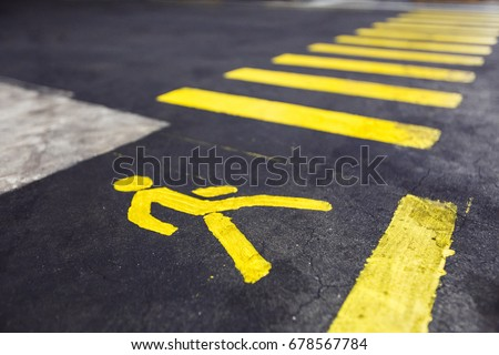 Pedestrian crossing yellow marking in the factory