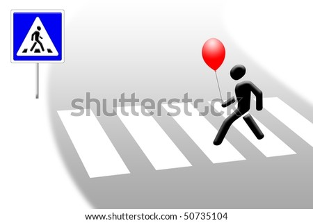 Pedestrian crossings with a red ball in his hands. - stock photo