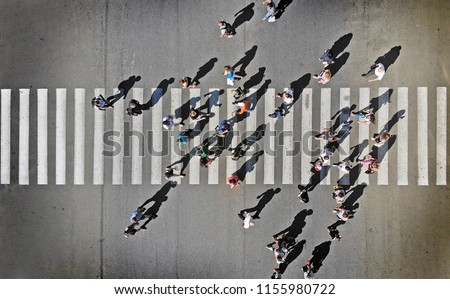 Pedestrian crosswalk aerial view from above #1155980722