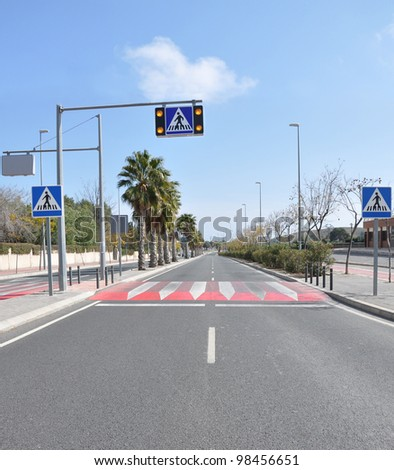 Pedestrian Crosswalk Speed Bump and Traffic Signs Symbols on blacktop pavement two lane street