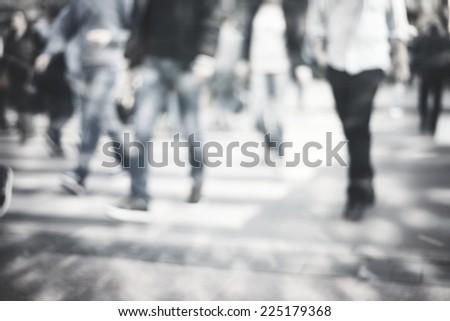 pedestrian on zebra in motion blur