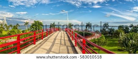 Pedestrian overpass in Panama city, Panama #583010518