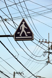 Pedestrian road sign between confusion of cables/Orientation Guide