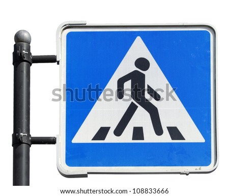Pedestrian road sign  on white background