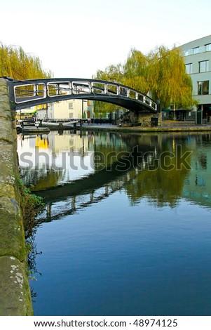 Pedestrian steel bridge over canal in Camden
