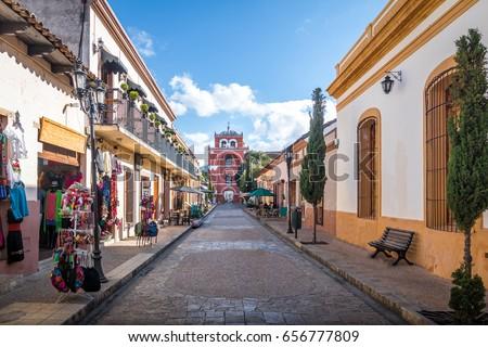 Shutterstock Pedestrian street and Del Carmen Arch Tower (Arco Torre del Carmen) - San Cristobal de las Casas, Chiapas, Mexico