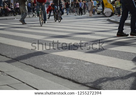 Pedestrian street with pedestrian crossing, cyclists and people  #1255272394
