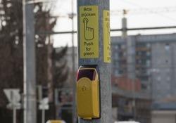pedestrian traffic light on the street, visual signal for road users