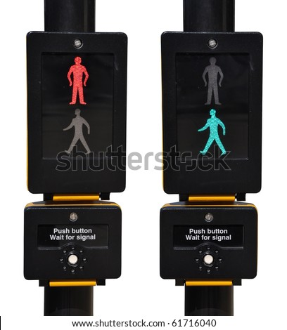 pedestrian traffic lights, red and green walk sign (isolated on white background)