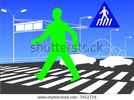 pedestrian walk sign man walking across zebra crossing