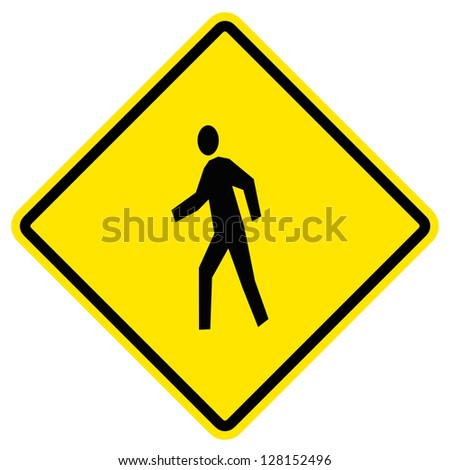 pedestrian yellow traffic sign