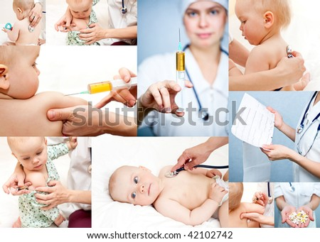 Pediatrician examining little baby girl with stethoscope and giving an injection in arm