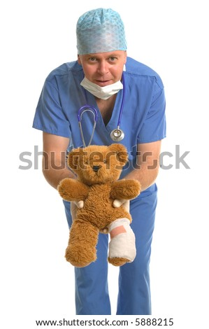 Pediatrician giving back a wounded teddy bear with a bandaged leg.