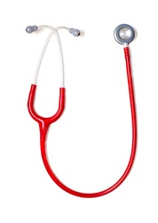 Pediatrician's red stethoscope isolated on white background