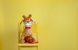 Pediatrician toy animal with stethoscope isolated on yellow background. Stuffed toy animal giraffe as pediatrician with stethoscope sitting on the chair with copy space.