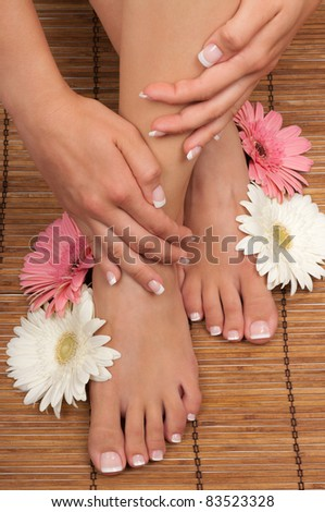 Pedicure and manicure spa with beautiful flowers